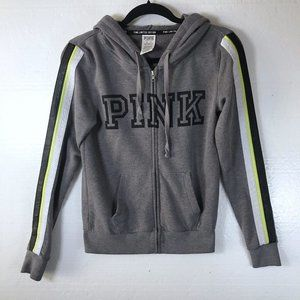 PINK Size XS Logo Gray Full Zip Up Hoodie Jacket